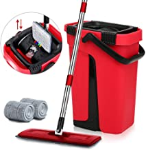Self Cleaning Flat Mop Bucket Sets Hand-Free Squeegee Mop & Bucket Pads Dust Wizard Mop 2 in 1 Wet & Dry Mops Household 36...