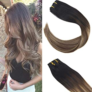 Sunny Ash Blonde Clip in Hair Extensions Balayage 14 inch Clip in Extensions Ombre Balayage Blonde Clip in Black Ombre to Dark Brown Mixed Ash Blonde 120g 7pcs