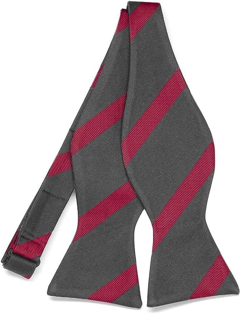 TieMart Regent Morris Neckwear Dark Gray and Red Striped Cotton/Silk Self-Tie Bow Tie