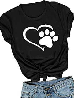 Womens Dog Paw Print Shirt Heart Graphic T-Shirt Love Dogs Casual Tee for Mom Cute Holiday Tops Shirts