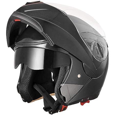 AHR Run-M Full Face Flip up Modular Motorcycle Helmet DOT Approved Dual Visor Motocross Black M