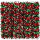 eBoot Guirnalda de Oropel Brillante de 32,8 Pies Guirnalda Metálica de Navidad Decoración Colgante para Árbol de Navidad Corona Boda Fiesta (Rojo y Verde)