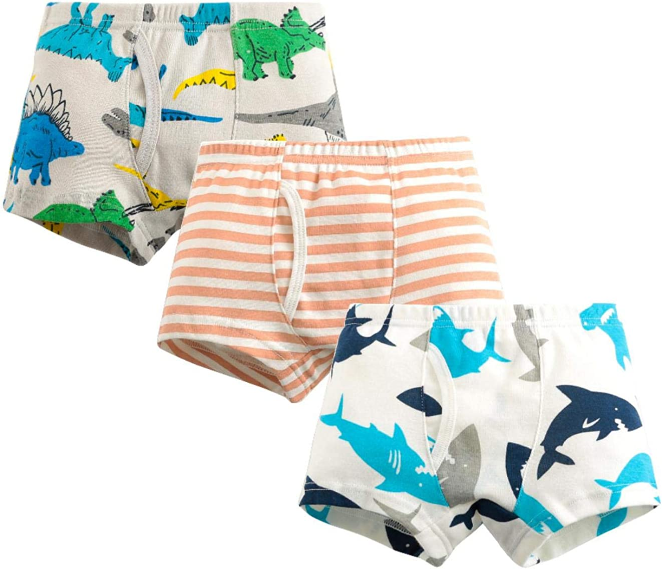 MIMY Boys Soft Cotton Boxer Briefs Toddler Kids Baby Underwear Dinosaur Truck Training Panty 3 Pack 3-10Y Blue