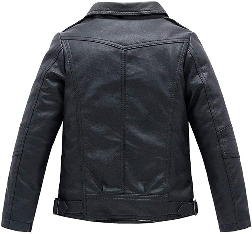 LAVIQ Childrens Collar Motorcycle Faux Leather Coat Boys Girls Faux Leather Jacket