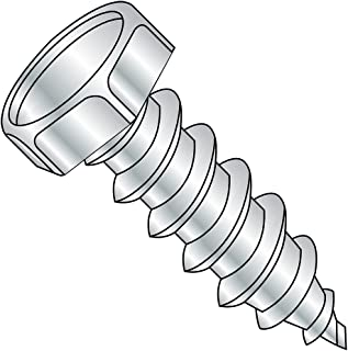 #14-10 Thread Size Steel Sheet Metal Screw Hex Drive 4 Length 4 Length Hex Washer Head Zinc Plated Pack of 500 Pack of 500 Small Parts 1464AW Type A
