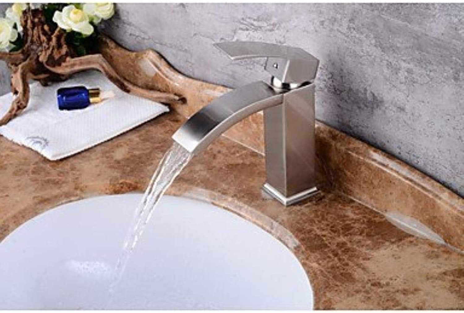 XSRKHome?Contemporary Centerset Waterfall withCeramic Valve Single Handle One Hole forNickel Brushed, Bathroom Sink Faucet