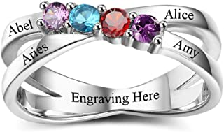 Personalized Sterling Silver Rings for Mothers 4 Simulated Birthstones Rings Mothers Christmas Rings Family Name Rings for Mom