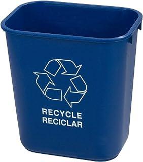 Carlisle 342941REC14 Plastic Recycle Deskside Wastebasket, 41 Quart, Blue (Pack of 1) (Renewed)