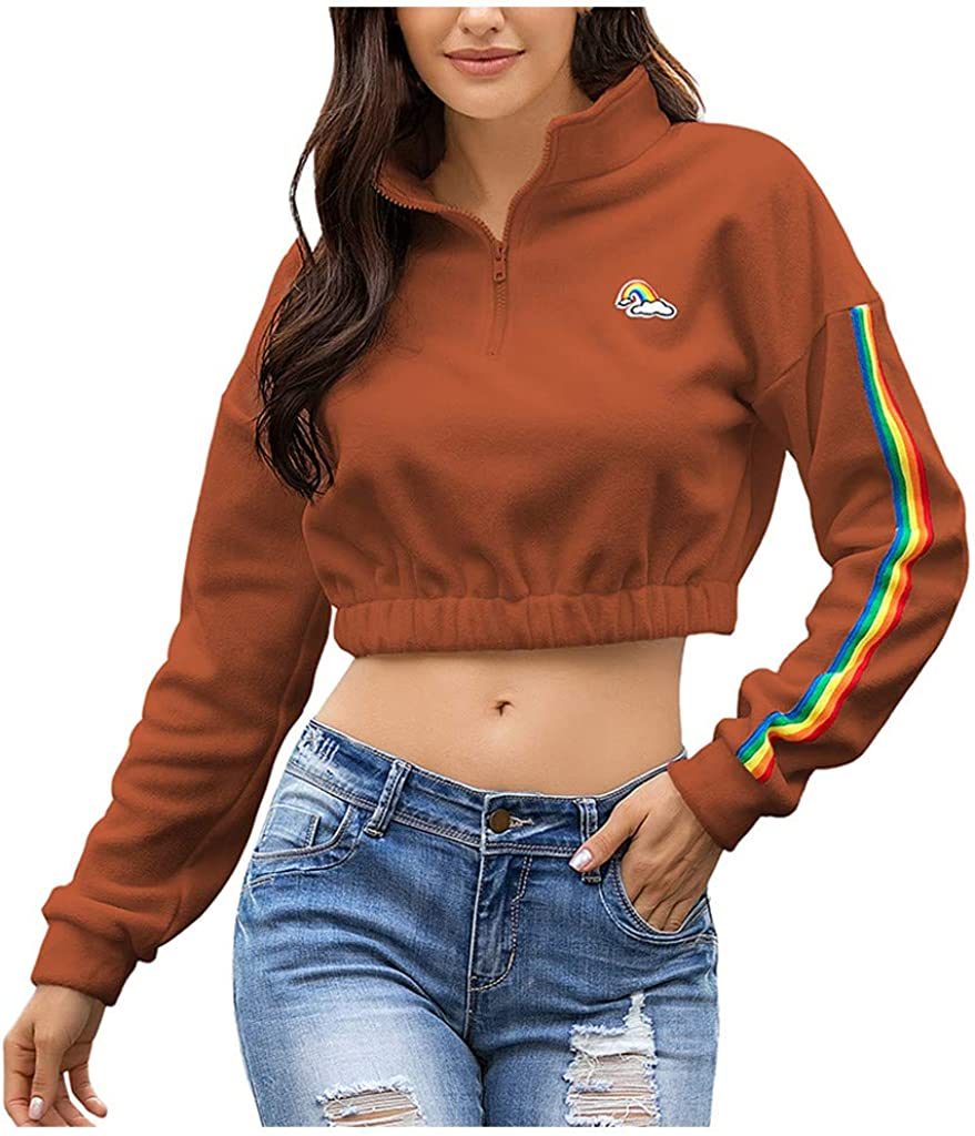 F/_topbu Sweatshirts for Women Long Sleeve Rainbow Print Crop Tops 1//4 Zip Turn-Down Collar Pullover Casual Loose Blouse