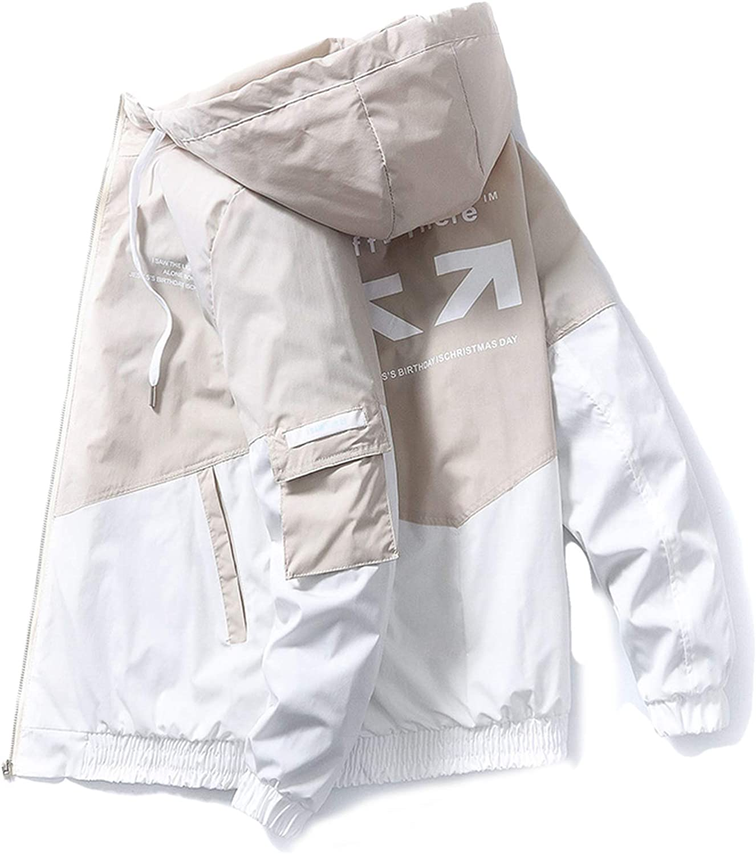 Spring Autumn Patchwork Streetwear Jackets Men Big Size 3Xl Hooded Casual Loose Print Windbreaker Jacket