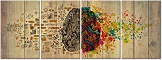 Welmeco 4 Pieces Large Vintage Left and Right Brain Function Painting Canvas Prints Inspirational Science Poster for School Classroom Office Home Decor (16