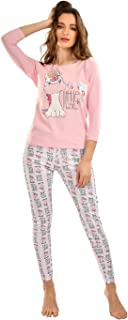 Habiba Cotton Round-Neck Cow-Print Long Sleeves Top with Printed Leggings Pajama Set for Women - Pink and White