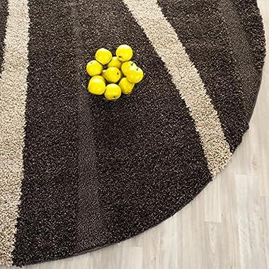 Safavieh Willow Shag Collection SG451-2813 Dark Brown and Beige Round Area Rug (5' Diameter)