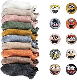 Oyria, Calcetines de dibujos animados lindos para mujer, calcetines divertidos bordados con cara sonriente, calcetines de algodón suave transpirable