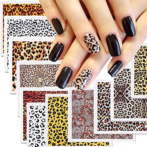 XMMXNBJ Leopard Print Design Nail Art Water Transfer Transfer Stickers,Leopard Design Nail Decals,Nail Full Tattoo Warps Slider Manicure Decoration,DIY Decoration for Women and Girls,10 Sheets