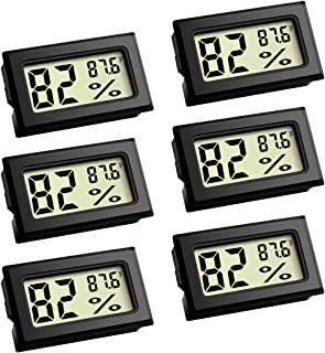 Mini Thermometer, Digital Refrigerator Freezer Thermometer with LCD Display - 6 Pack Fahrenheit (℉) Thermometer Hygrometer for Humidors, Greenhouse, Garden, Cellar, Fridge, Closet