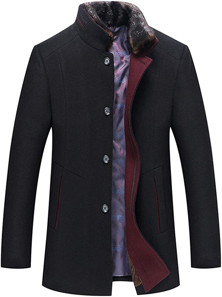 YFFUSHI Mens Wool Blend Coat Thick Warm Winter Casual Overcoat with Removable Fur Collar