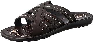 Aerosoft Criss-Cross Strap Faux Leather Slides For Men
