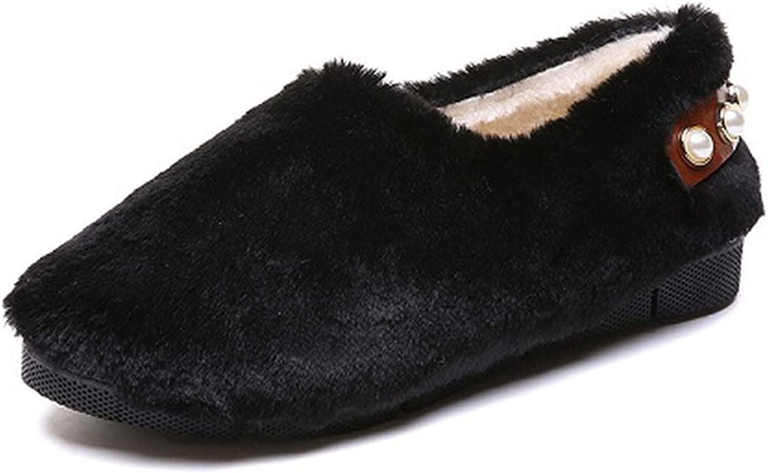 Together to create a miracle Warm Winter Pearl Furry Slippers Women Fur Soft Indoor Home Slippers Outdoor Flats Woman