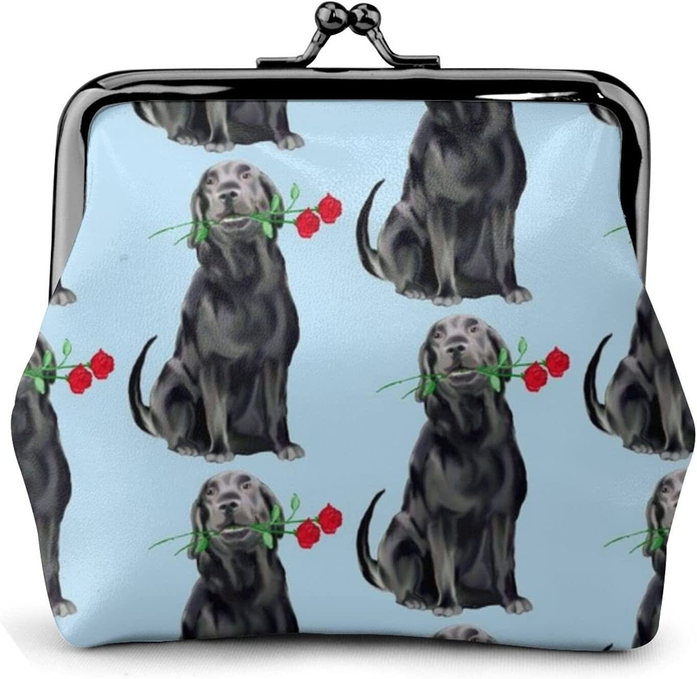 Black Lab And 558 Leather Coin Purse Kiss Lock Change Pouch Vintage Clasp Closure Buckle Wallet Small Women Gift