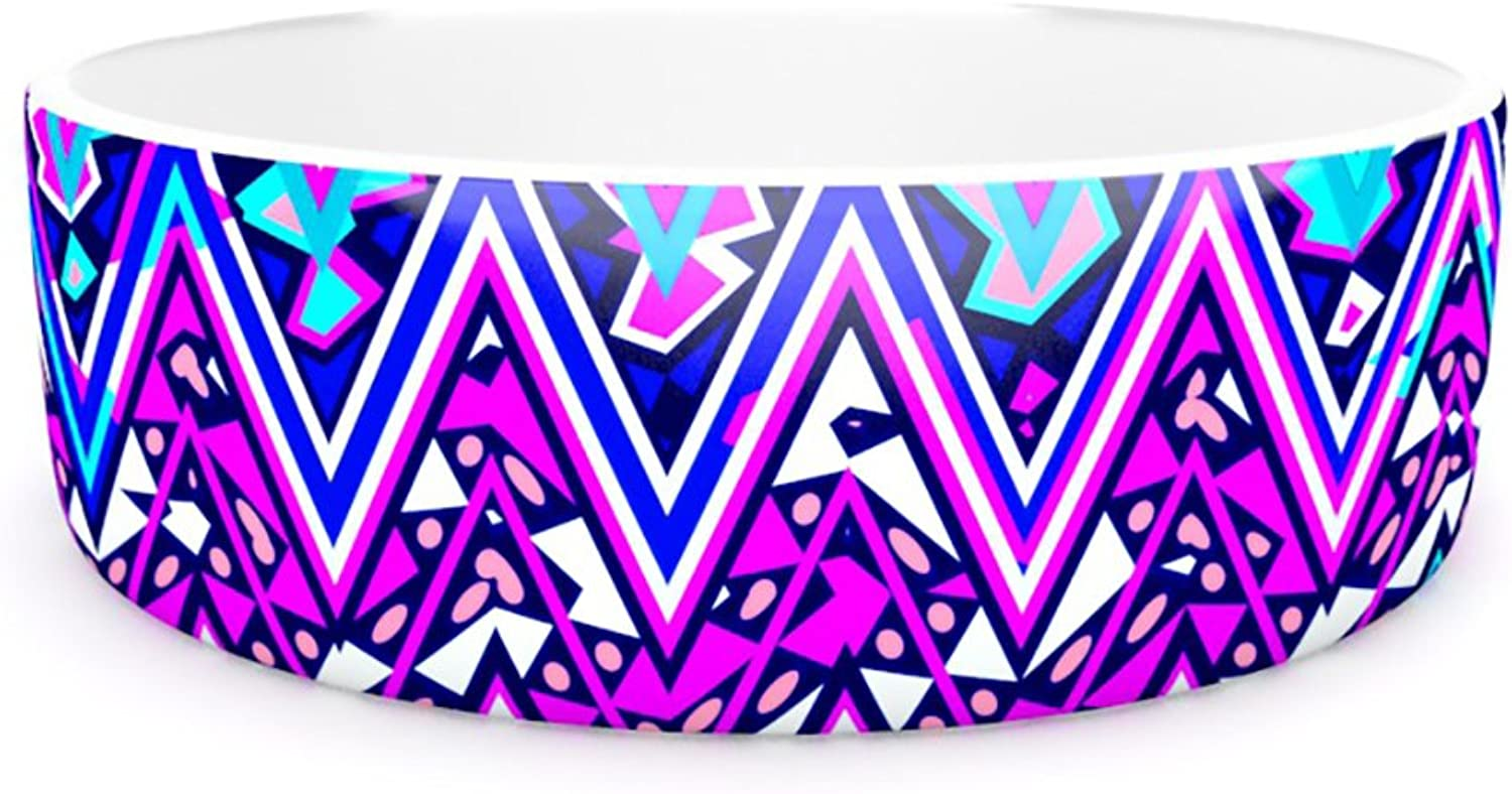 Kess InHouse Nika Martinez bluee Electric Chevron  Pet Bowl, 7Inch