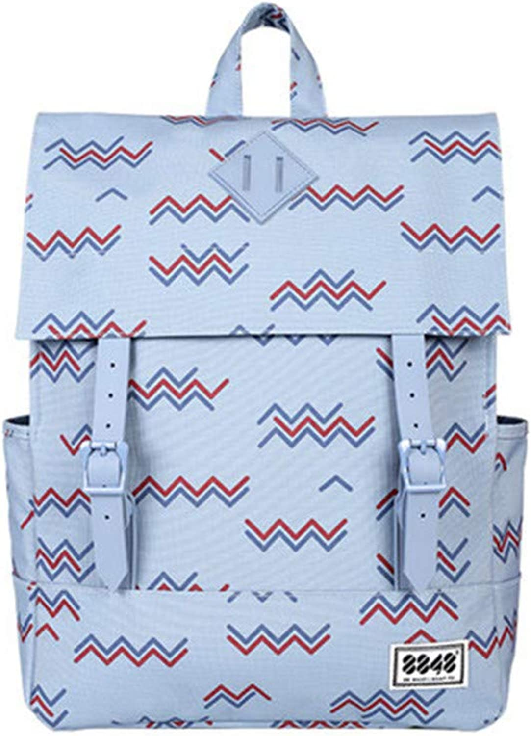 Preppy Style Women Student 15.6 Inch Laptop Soft Back Waterproof Oxford Polyester Material Backpacks Faded Denim Wave