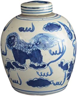 Festcool Antique Style Blue and White Porcelain Lion Dancing Ceramic Covered Jar Vase, China Ming Style, Jingdezhen (LJ2)