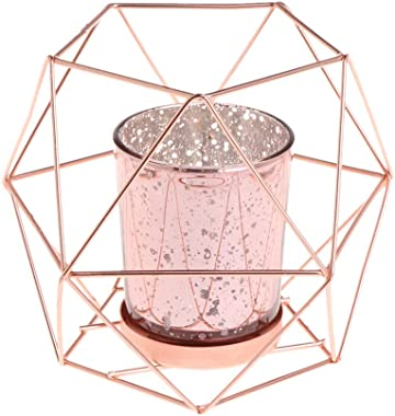 Autones Candle Holder,Nordic Style 3D Geometric Candlestick Metal Candle Holder Wedding Home Decor (Rose Gold)