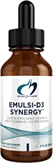 Designs for Health 2000 IU Vitamin D Drops with K1 + K2 - Emulsi-D3 Synergy 2 Fl Oz (Pack of 1)