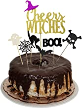 Cheers Witches Halloween Party Cake Topper Cupcake Picks Decoration Kit for Halloween Themed Birthday/Wedding Party Supplies
