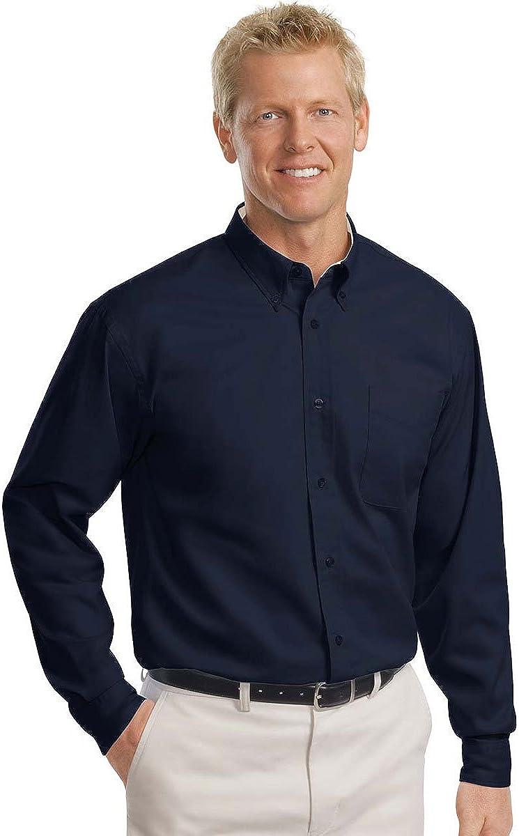 Port Authority - Tall Long Sleeve Easy Care Shirt-4XLT (Navy/Light Stone)