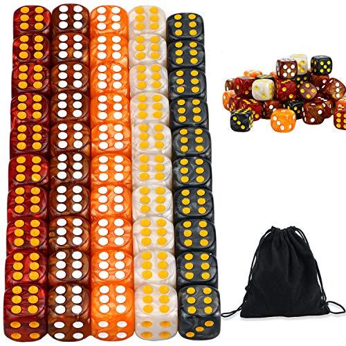 YOUSHARES Juego de Dados Multicolores de 50 Piezas - Colores Surtidos con 10 Piezas Cada uno, Dados estándar D6 de 16 mm con Bolsa de Transporte para Juegos de Mesa: Tenzi, Yahtzee y Juegos de Casino