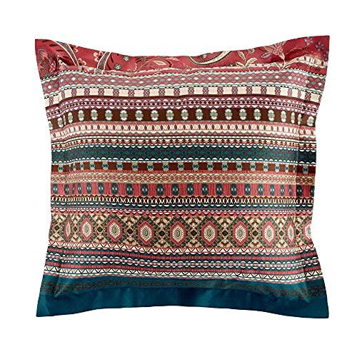 Bassetti Burano - Funda de cojín (algodón, 65 x 65 cm), Color Rojo