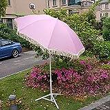 GAOYUN Sombrilla de Patio de 6.5 pies / 2 m con Flecos, sombrilla de Lujo con borlas para Exteriores, sombrilla de jardín portátil con botón inclinable, Rosa