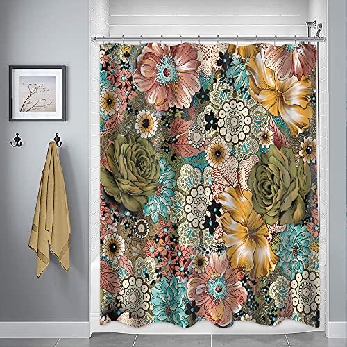 Riyidecor Boho Floral Shower Curtain Paisley Fancy Bohemian 72x72 inch Medallion Colorful Mandala Retro Hippie Haskell Ethnic Unique Artwork Cloth Fabric Bathroom Decor