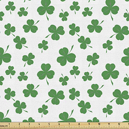 Lunarable Shamrock Fabric by The Yard, St Patrick's Day Pattern Lucky Irish Clover Traditional Holiday Design, Decorative Fabric for Upholstery and Home Accents, 2 Yards, Fern Green
