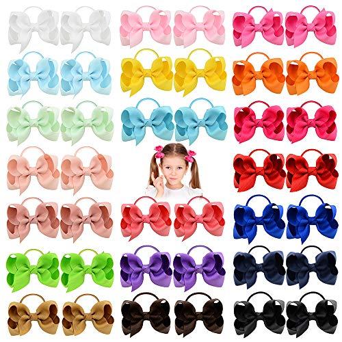 40pcs 3 pollici neonate capelli fiocchi cravatte per capelli fascia elastica titolare coda di cavallo fascia per capelli accessori per capelli per bambini piccoli