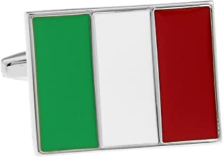 Italian Flag Italy Pair Cufflinks in a Presentation Gift Box & Polishing Cloth