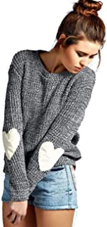 Women's Cute Heart Pattern Patchwork Casual Long Sleeve Round Neck Knits Sweater Pullover