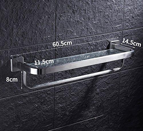 Bathroom Rack YSJ Salle de Bains Verre rectangulaire étagère Murale Verre trempé Extra épais, Section Lumineuse (Taille : 60.5 * 14.5 * 8cm)