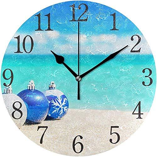 Cy-ril Reloj de Pared Árbol de Navidad Bolas Azules y Plateadas Decoraciones Playa Arena Reloj de Pared Redondo para Sala de Estar Baño Hogar Decorativo