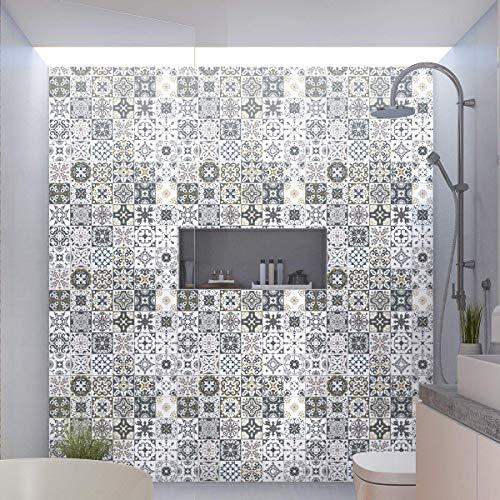 Tegelstickers | zelfklevende tegels cement tegels – mozaïek tegels wandtegels badkamer en keuken 15 x 15 cm 30 stuks Antalya