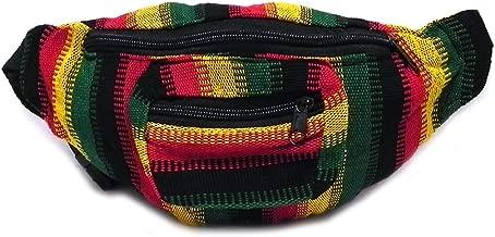 Rasta Striped Woven Casual Travel Lightweight Waist Bag Fanny Pack Belt w/Adjustable Buckle Strap & Two Exterior Zipper Pockets (Pixel Stripes)