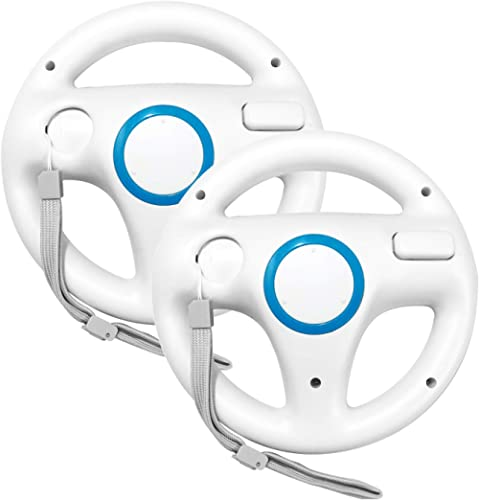 Jadebones Racing Steering Wheel with Wrist Strap for Wii and Wii U Remote Controller (2 Sets White Color Bundle)