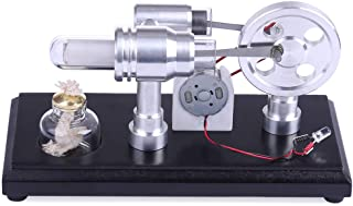 Yamix Double-Cylinder DIY Stirling Engine Motor Model External Combustion Engine Educational Toy Electricity Generator