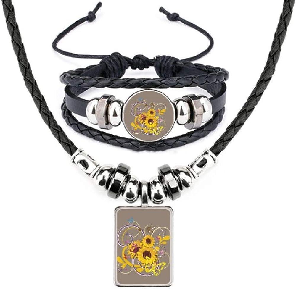 Plant Dealing full price reduction Flower Sunflower Illustration Bracelet Necklace free shipping Je Leather