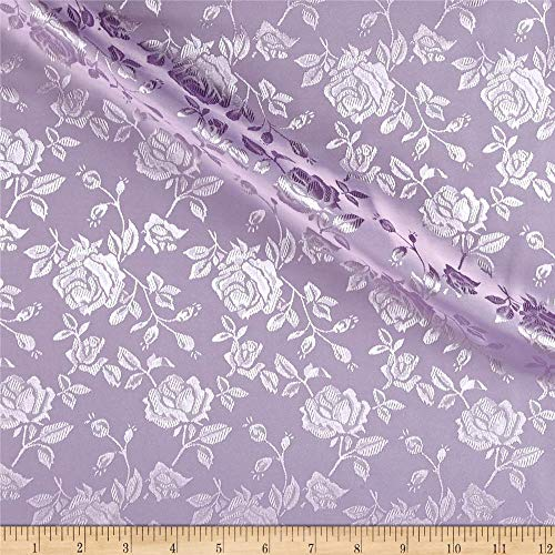 Ben Textiles Rose Satin Jaquard Fabric, Lavender, Fabric by the yard