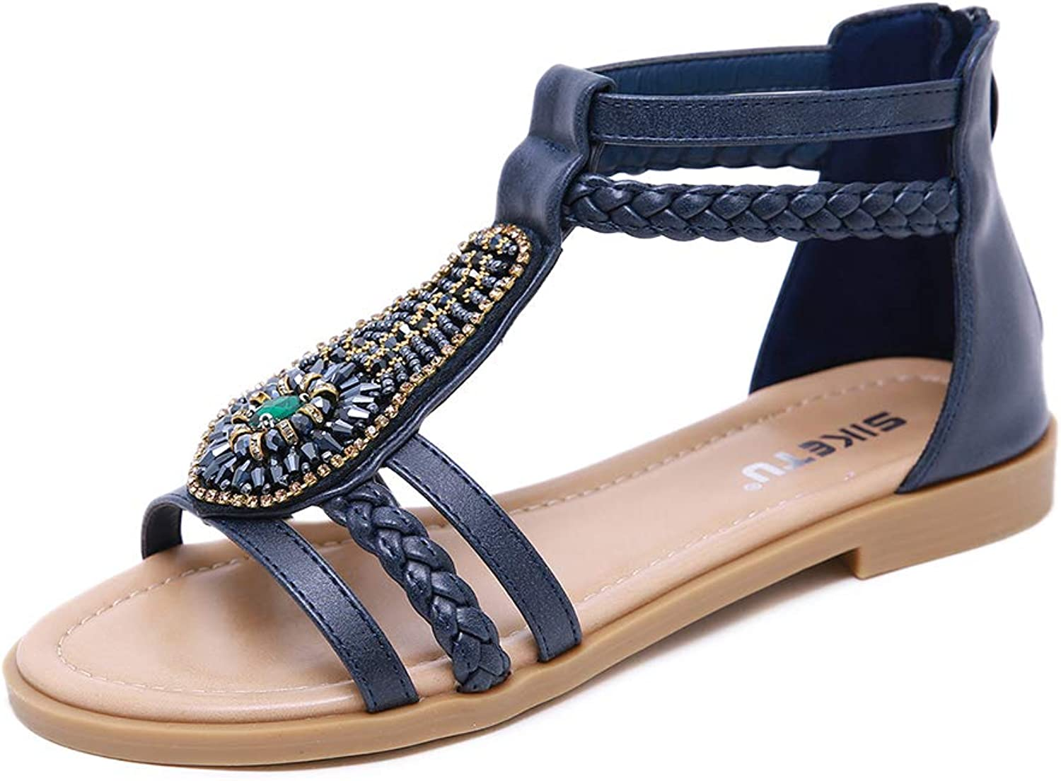 AGOWOO Womens Sandals Fashion Crystal Beaded Zipper Closure Sandles