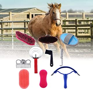 Equine Horse Grooming Kit, Horse Brush Set,10 Piece Equine Care Series Set Horse Cleaning Tool Brush Comb Grips Set questr...