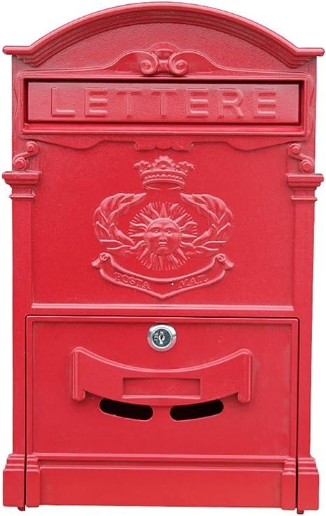 Retro Wall Mount Mailbox Vintage European Iron Aluminum Locking Post Letter Box